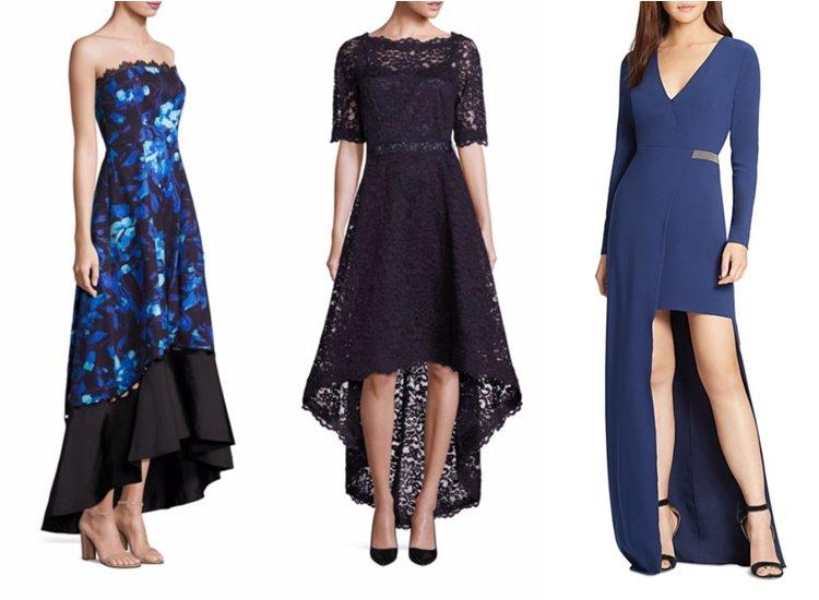 Модные вечерние платья 2017: тёмно-синие маллет