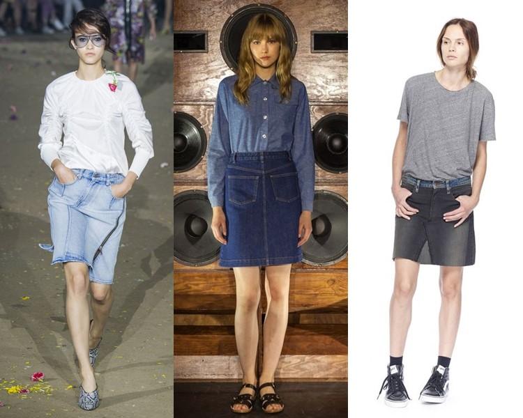 Модные юбки весна-лето 2017: короткие джинсовые