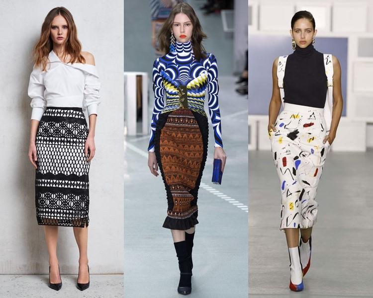 Модные юбки весна-лето 2017: карандаш миди