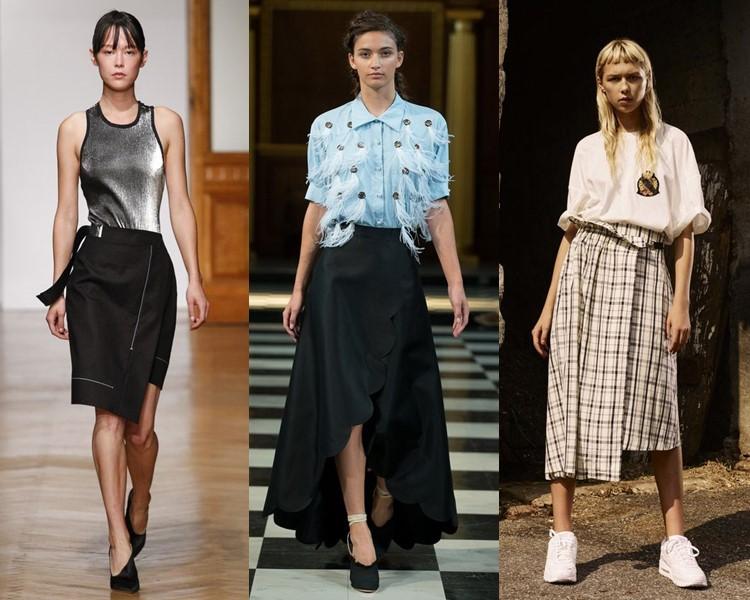 Модные юбки весна-лето 2017:  асимметричные с запахом