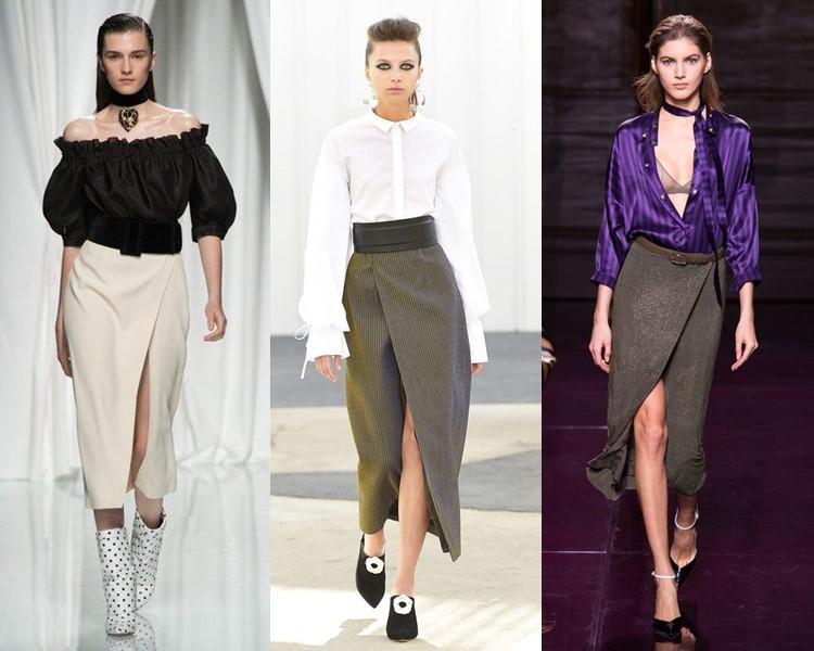 Модные юбки весна-лето 2017:  с запахом и разрезом