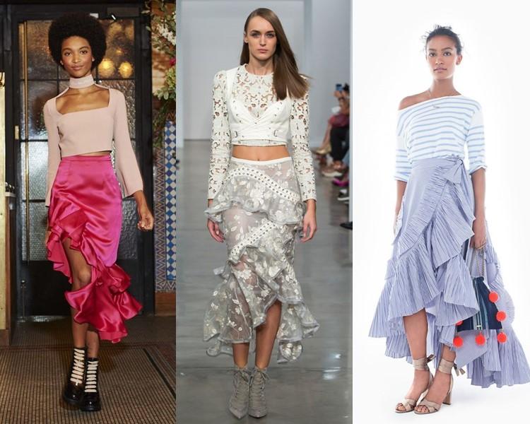 Модные юбки весна-лето 2017:  асимметричные с воланами
