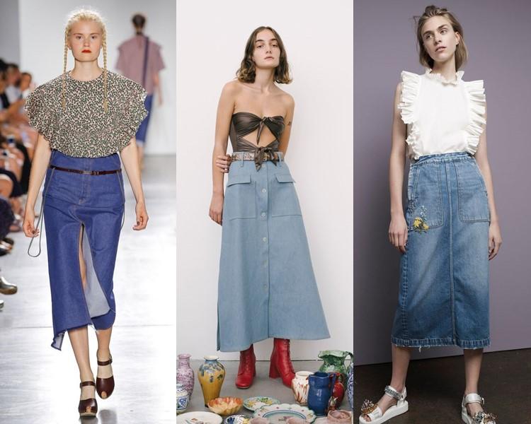 Модные юбки весна-лето 2017: джинсовые ниже колена миди