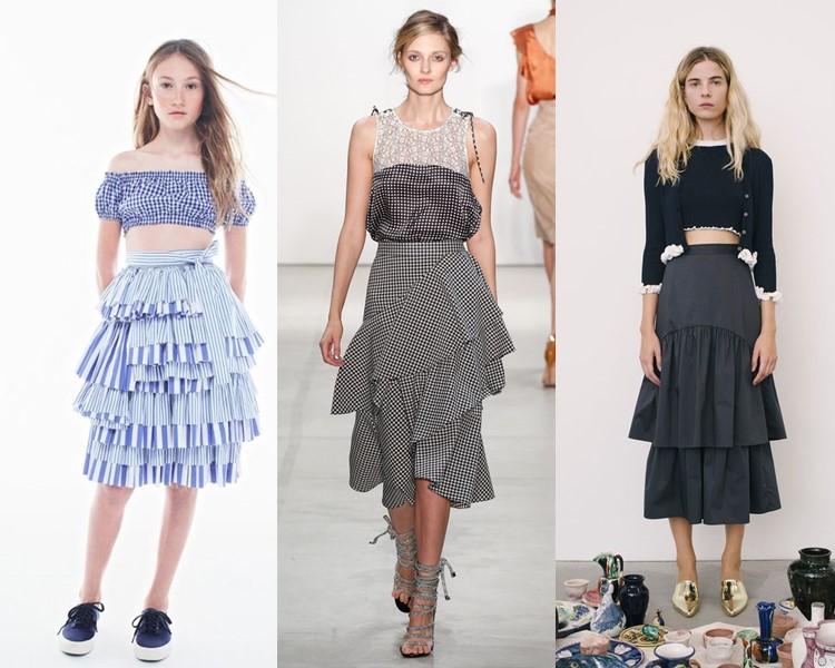 Модные юбки весна-лето 2017: многоярусные