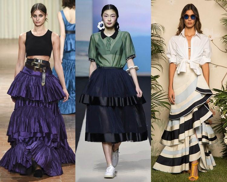 Модные юбки весна-лето 2017: многоярусные объёмные