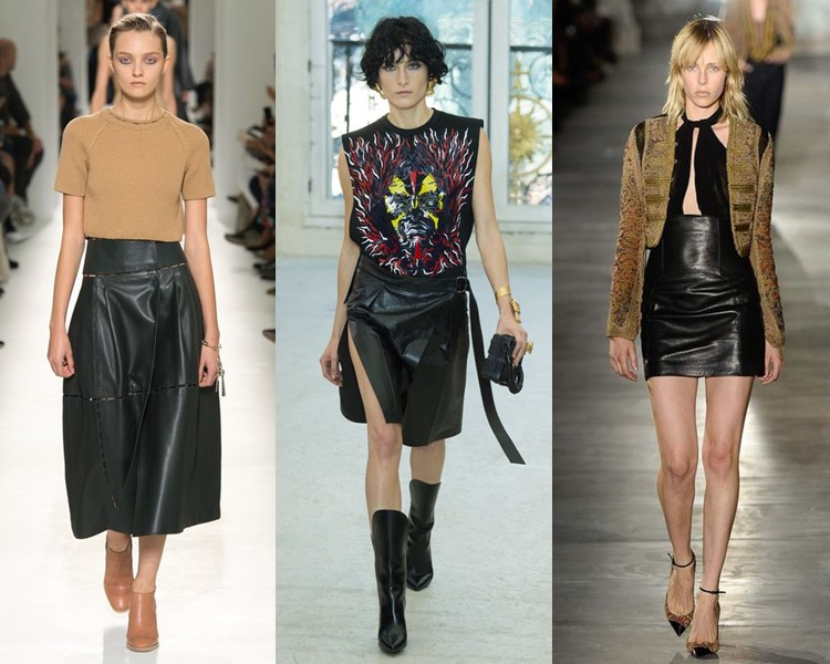 Модные юбки весна-лето 2017: чёрные кожаные
