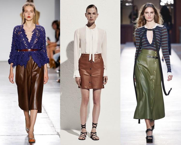 Модные юбки весна-лето 2017:  коричневые и зелёные кожаные