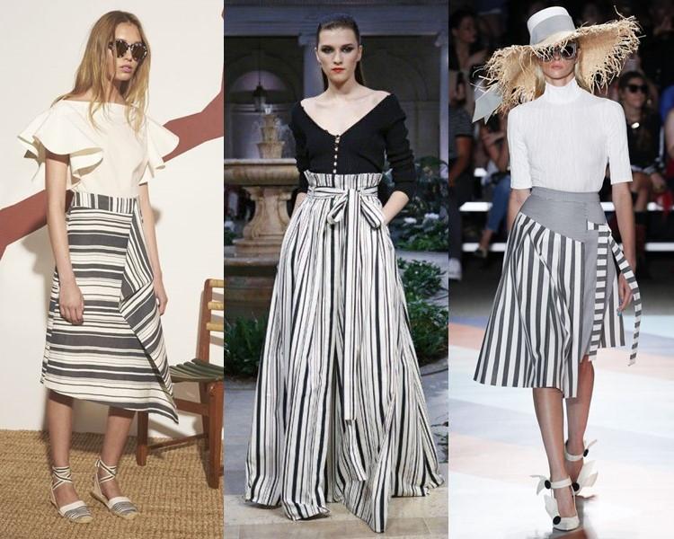 Модные юбки весна-лето 2017:  серые в полоску