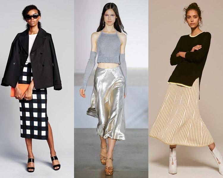 Модные юбки весна-лето 2017:  миди ниже колена