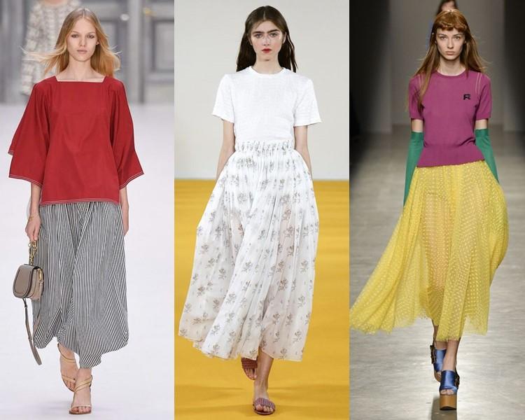 Модные юбки весна-лето 2017:  пышные миди