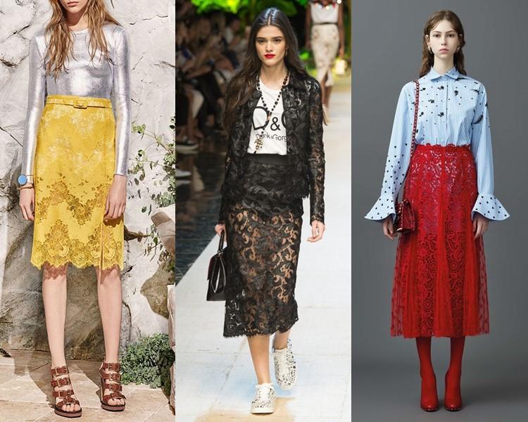 Модные юбки весна-лето 2017: прозрачные кружевные