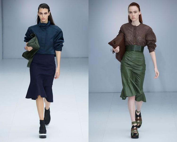 Модные юбки весна-лето 2017: карандаш-годе с блузкой