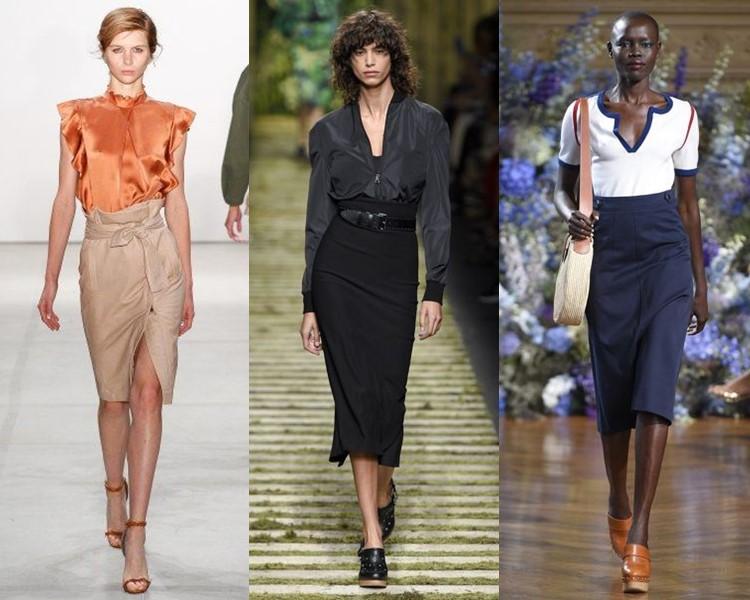 Модные юбки весна-лето 2017: завышенная посадка карандаш