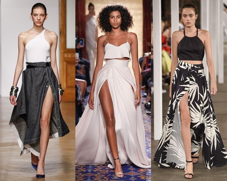 Модные юбки весна-лето 2017: высокий боковой разрез