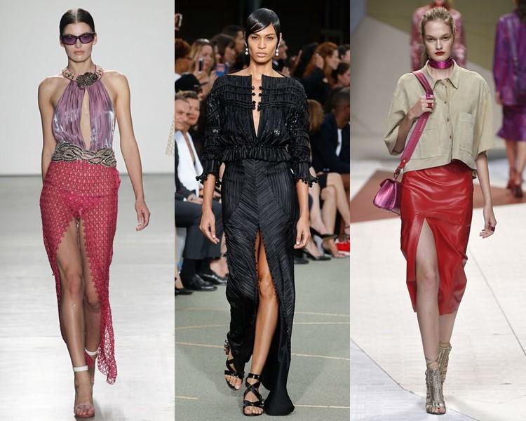 Модные юбки весна-лето 2017: узкие с разрезом