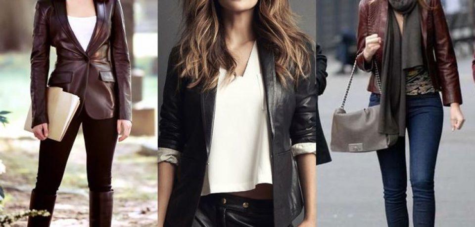 Женские кожаные пиджаки 2017