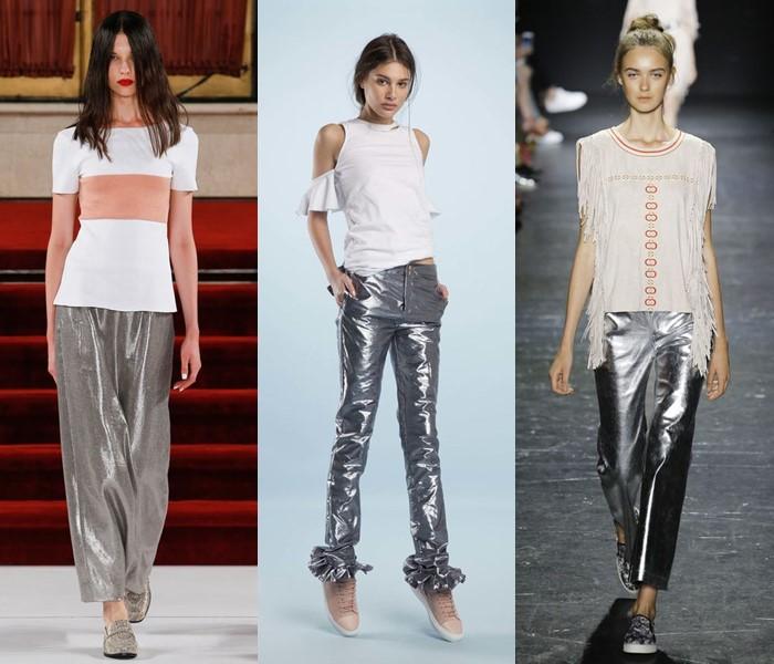 серебристые металлизированные брюки весна-лето 2017