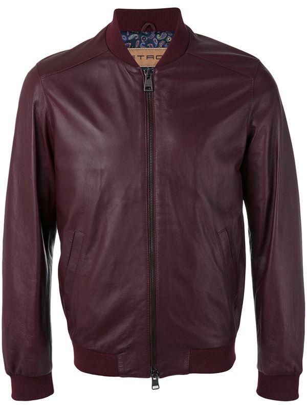 гладкая бордовая кожаная куртка бомбер для мужчины