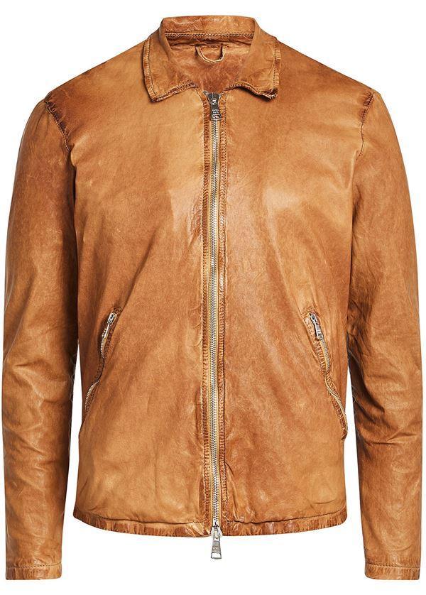 рыжая мужская куртка из потертой кожи