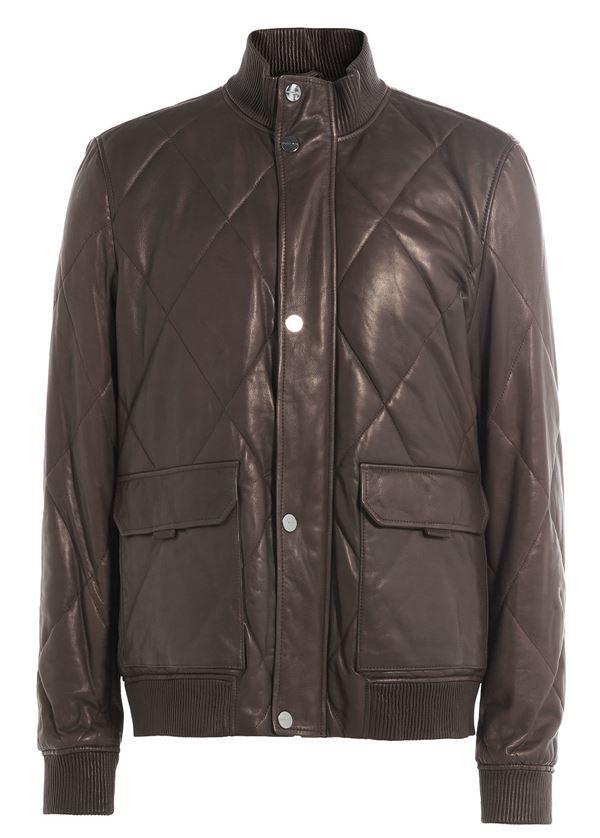 мужская кожаная стеганая куртка бомбер