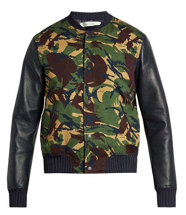 мужская куртка бомбер с кожаными рукавами и камуфляжным принтом