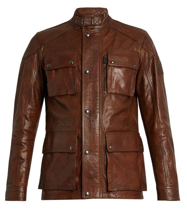 коричневая мужская кожаная куртка