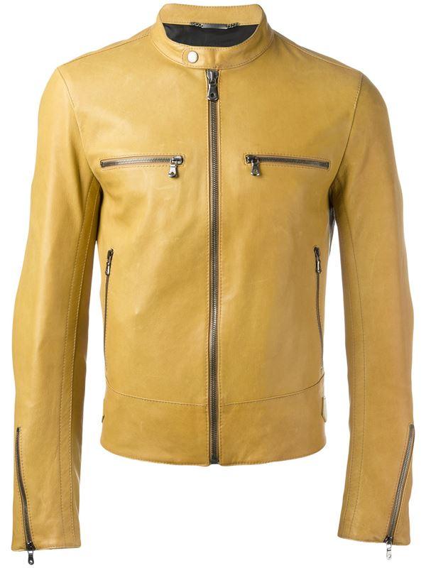 желтая мотоциклетная кожаная куртка