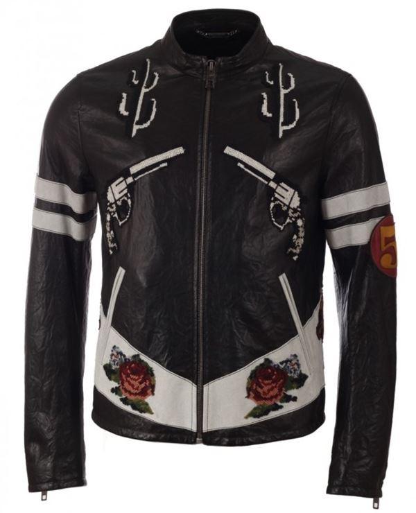 черная кожаная мужская мотокуртка с розами