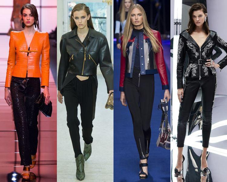 С чем носить кожаные куртки в 2017 году - брюки скинни