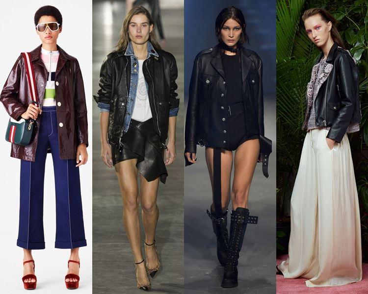 С чем носить кожаные куртки в 2017 году - кюлоты и палаццо