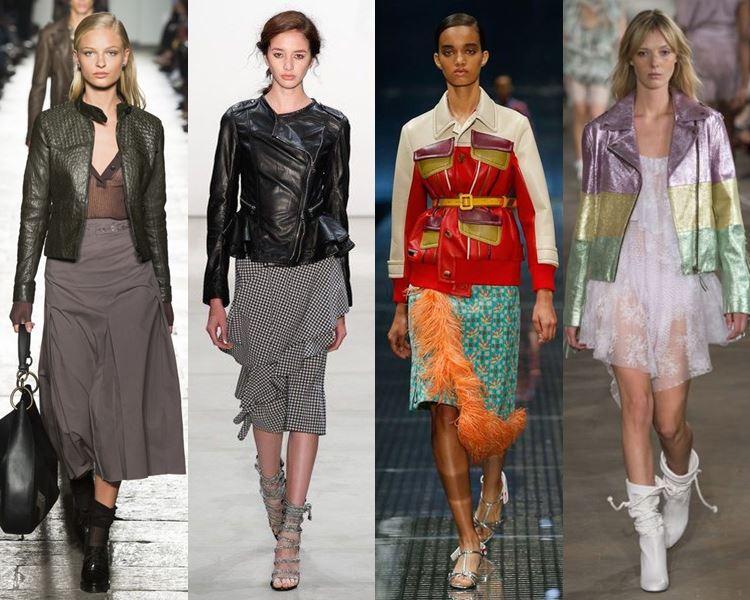С чем носить кожаные куртки в 2017 году - юбки миди