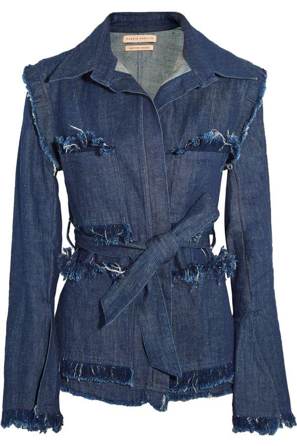 темно-синяя джинсовая куртка с бахромой и поясом