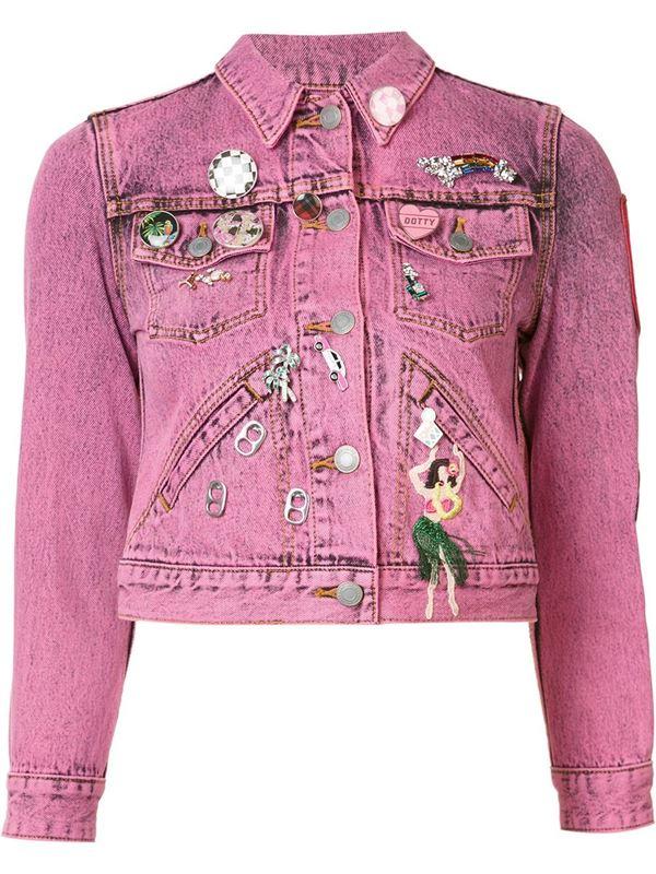 розовая короткая джинсовая куртка с аппликациями
