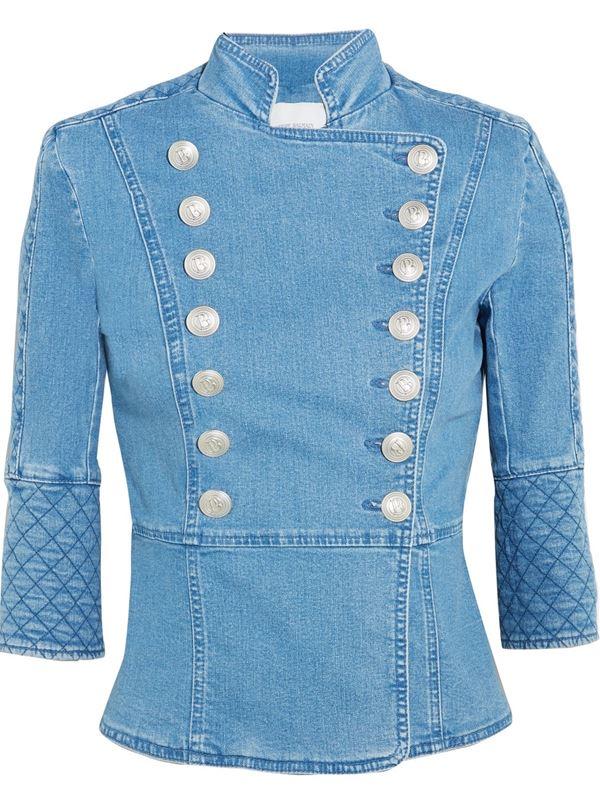 голубой джинсовый жакет двубортный в милитари-стиле