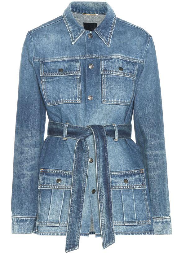 длинный джинсовый жакет с поясом и карманами