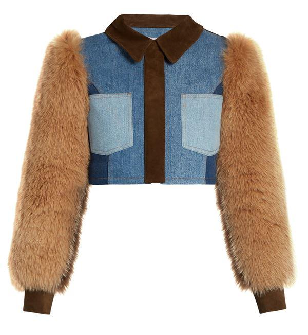 короткий джинсовый жакет с меховыми рукавами