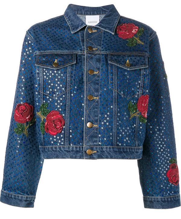 темно-синяя джинсовая куртка с пайетками и цветочными аппликациями