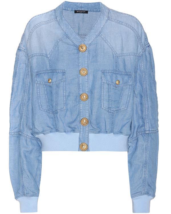 светло-голубой джинсовый бомбер