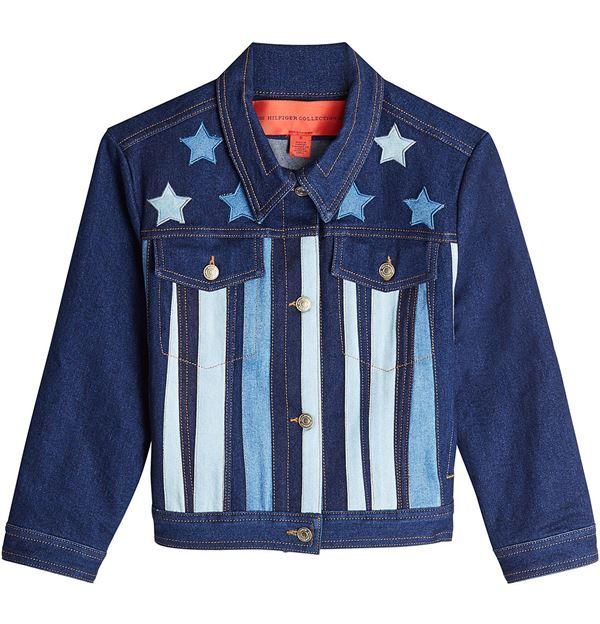 темно-синяя джинсовая куртка с полосками и звездами