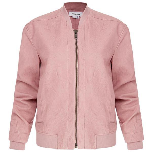 пыльно-розовая кожаная куртка бомбер