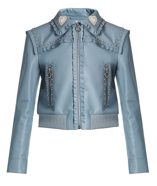 серо-голубая кожаная куртка с воланами