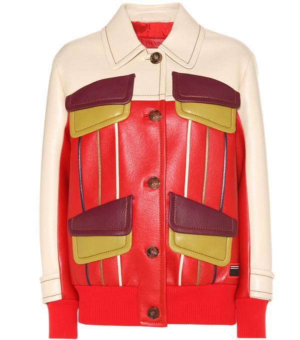 бежево-красная кожаная куртка с накладными карманами