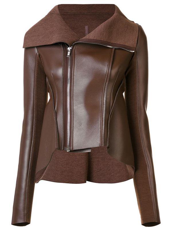 шоколадно-коричневая кожаная куртка на молнии