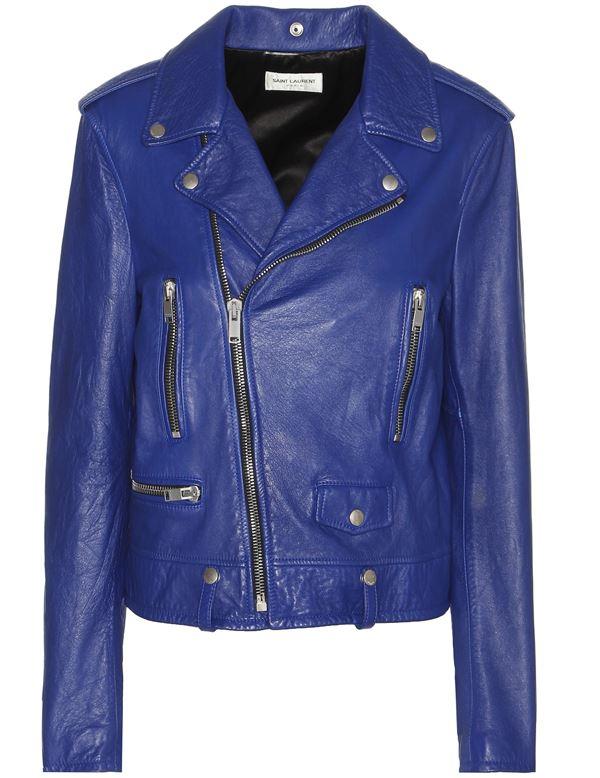 ярко синяя кожаная куртка косуха на молнии