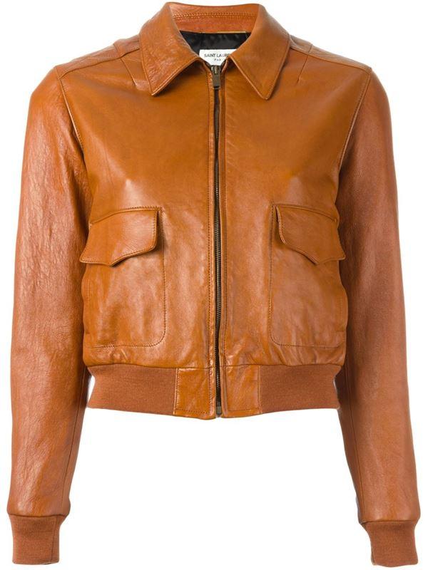 коричневая кожаная куртка с отложным воротником