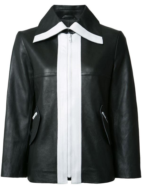 черно-белая кожаная куртка