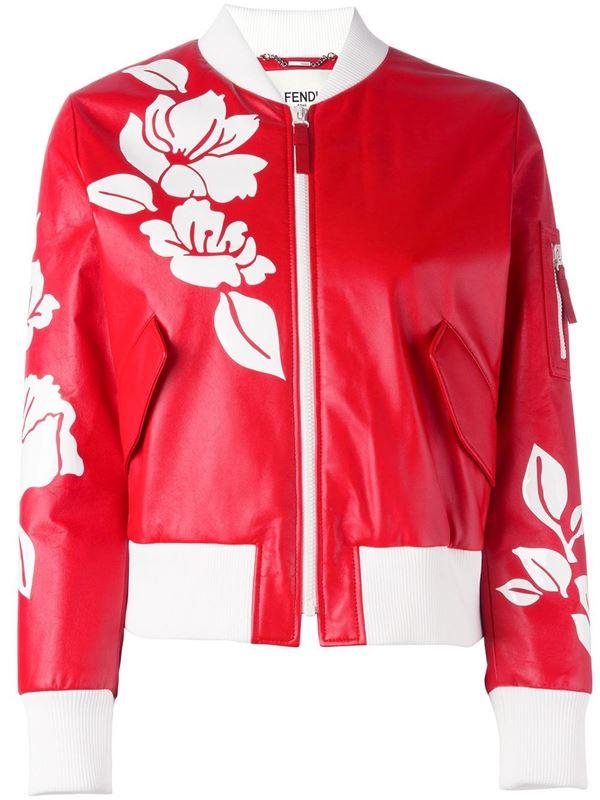 красный кожаный бомбер с цветочным рисунком