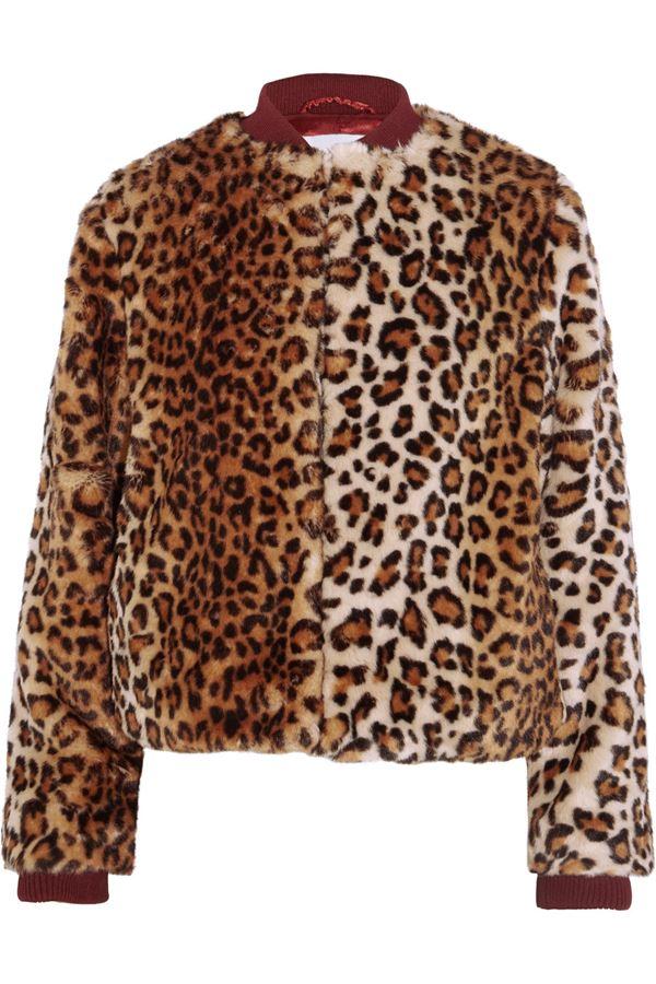 меховой леопардовый бомбер