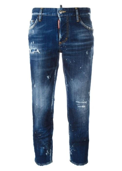 темно-синие зауженные джинсы бойфренды