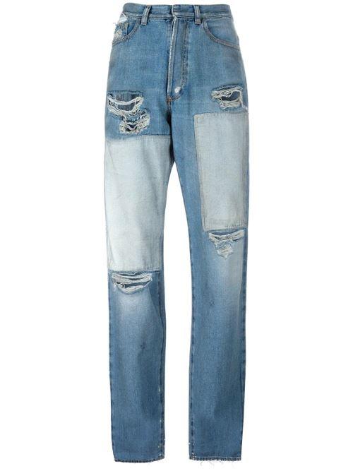 джинсы бойфренды пэтчворк